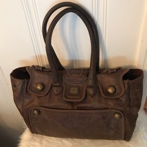 EUC Large Brown Distressed Leather Purse